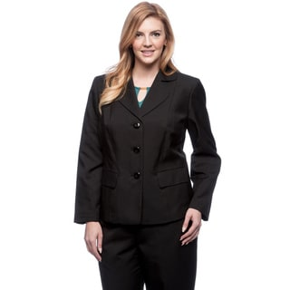 Le Suit Women's Plus Size 3-button Rounded Notch Collar Glazed Melange Jacket