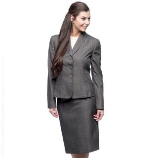 Le Suit 3-button Line Accent Shawl Collar Melange Skirt Suit