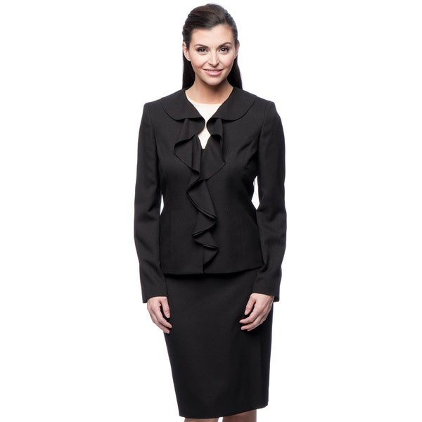 Le Suit Women's Ruffle Collar Crepe Suit