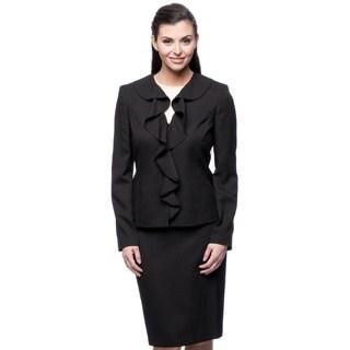 Le Suit Women's Ruffle Collar Crepe Suit
