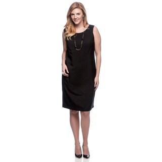 Le Suit Women's Plus Size Black Glazed Melange Dress