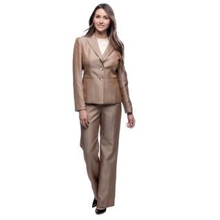 Evan Picone Women's Taupe Mini Herringbone Peak Collar Pant Suit