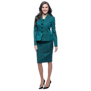 Le Suit 3-button Notch Collar Melange Skirt Suit