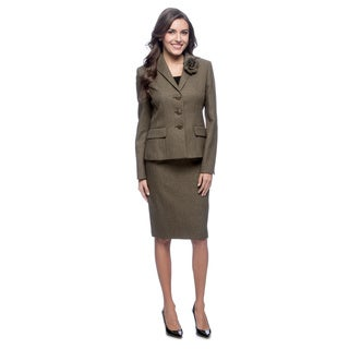 Le Suit 3-button Wing Collar Herringbone Skirt Suit