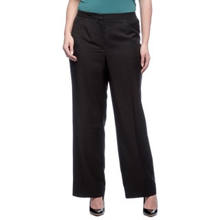 Le Suit Plus Size Front Zip Glazed Melange Pant