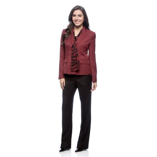 Le Suit Women's 2-Button Peak Collar Jacket/ Um Pant Suit with Scarf
