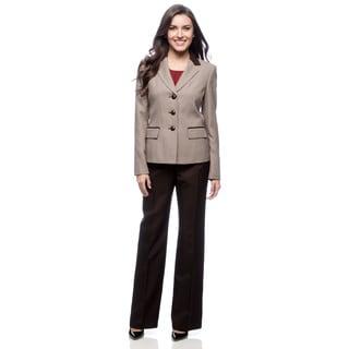 Le Suit Women's 3-button Notch Combo Collar Mini Houndstooth Pant Suit