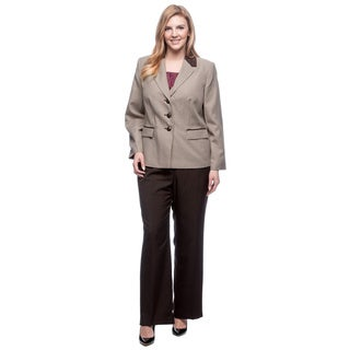 Le Suit Women's Plus Size Houndstooth Combo Pant Suit