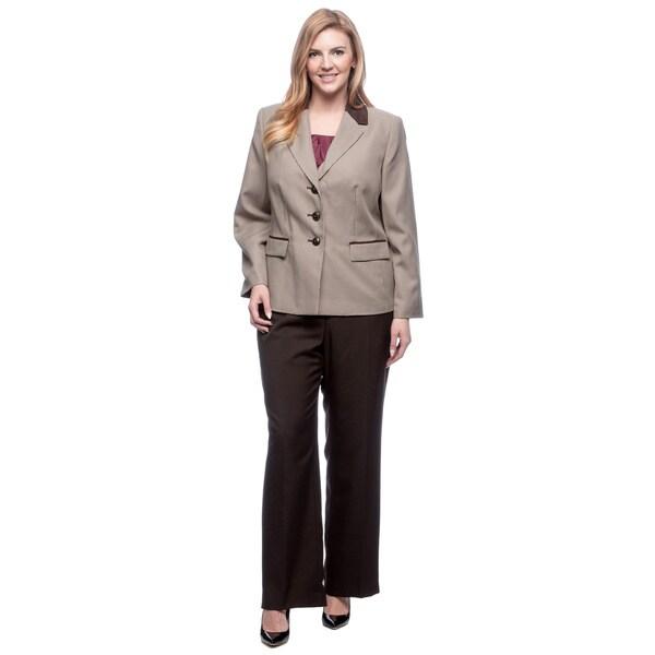 Le Suit Women's Plus Size Houndstooth Combo Pant Suit