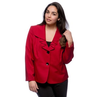 Kasper Plus Size Universal Melange 2-button Ruffle Collar Jacket