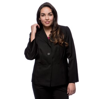 Kasper Plus Size Melange 2-button Seamed Waist Jacket