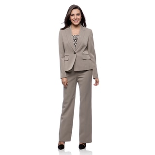 Kasper 1 Button Mini Herringbone Single Breasted Peak Lapel Pant Suit
