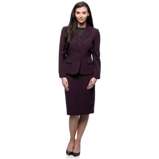 Kasper 3-button Single Breasted Cross Dye Crepenotch Collar Skirt Suit