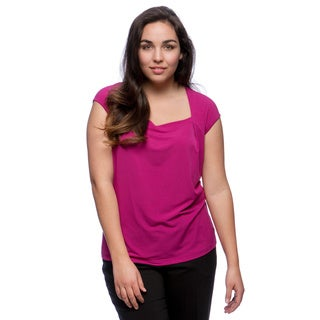 Kasper Plus Size Solid Ity Square Neck Cami