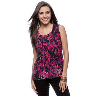 Kasper Smudge Print Topstitch Pleat Neck Top
