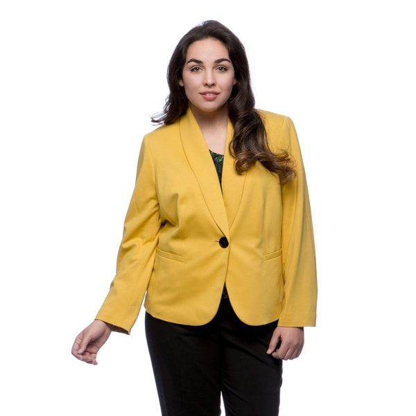Kasper Women's Plus Size 1-button Shawl Collar Ponte Jacket