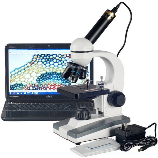 AmScope 40x-800x Glass Optics Student Compound Microscope with USB Digital Camera 14623651