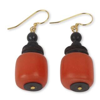 Handcrafted Coconut Shell 'God's Gift' Dangle Earrings (Ghana)