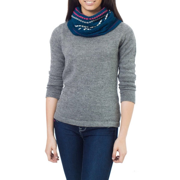 Handcrafted Alpaca Wool 'Blue Confetti' Neck Warmer (Peru)