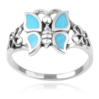 Journee Collection Sterling Silver Turquoise Butterfly Ring