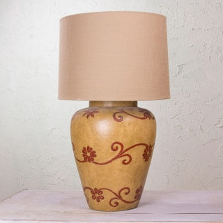 Handcrafted Ceramic 'Red Santa Fe Garland' Table Lamp (Mexico)