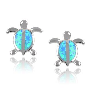 Journee Collection Sterling Silver Faux Opal Turtle Stud Earrings