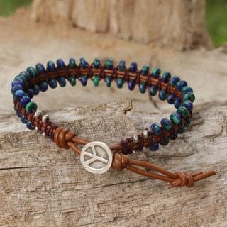 Handcrafted Azurite 'Peaceful Ocean' Beaded Bracelet (Thailand)