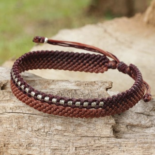 Silver 'Amity in Brown and Terracotta' Beaded Wristband (Thailand)