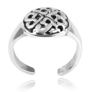 Journee Collection Sterling Silver Celtic Adjustable Toe Ring