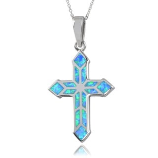 Journee Collection Sterling Silver Faux Opal Cross Pendant