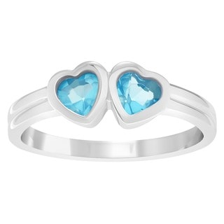 Journee Collection Children's Sterling Silver Cubic Zirconia Heart Ring