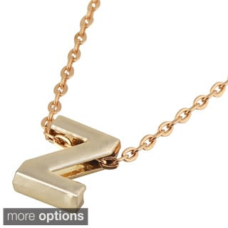 Zodaca Golden Alphabet N-Z Pendant Initial Letter Necklace (18.5 - 20.5 inch)