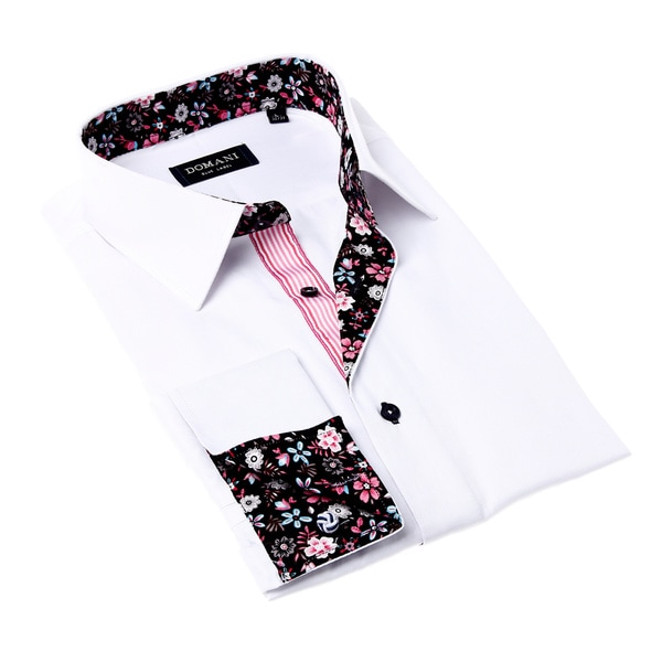 Domani Blue Label Men's White and Black Dress Shirt with Floral Details