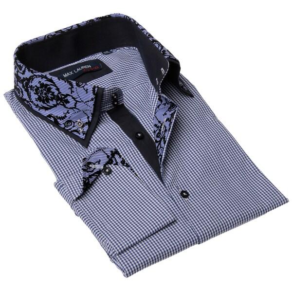Max Lauren Men's Blue Gingham Black Floral Accents Dress Shirt