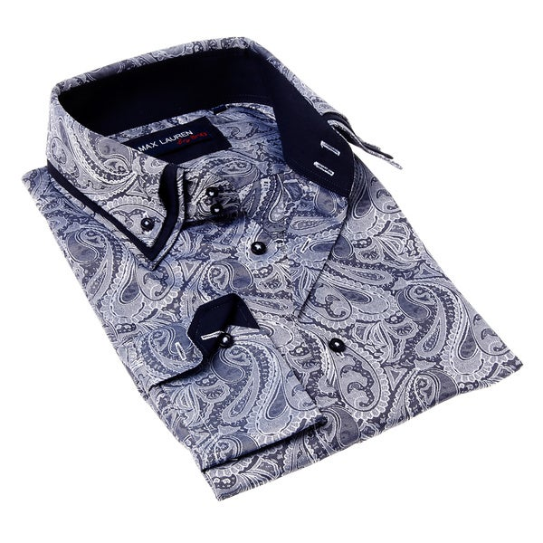 Max Lauren Men's Blue and White Paisley Print Dress Shirt
