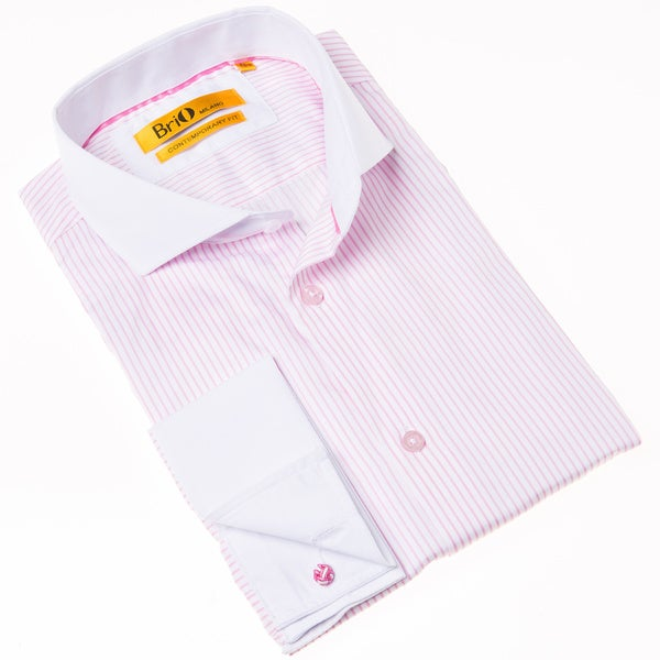 Brio Milano Men's Pink and White Stripe Contemporary-fit Dress Shirt