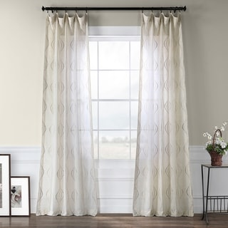 EFF Suez Embroidered Faux Linen Sheer Curtain Panel