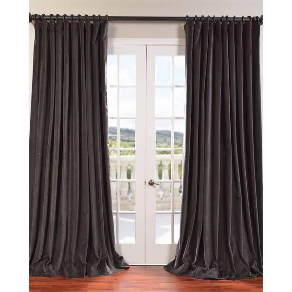 Extra Wide Vintage Cotton Velvet Curtain Panel