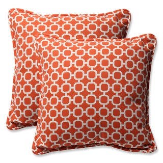 Pillow Perfect Outdoor Hockley Orange 18.5-inch Throw Pillow (Set of 2)