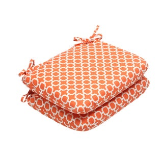 Pillow Perfect Outdoor Hockley Orange Rounded Corners Seat Cushion (Set of 2)