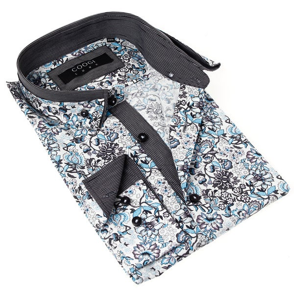 Coogi Luxe Men's Blue and Grey Floral Print Dress Shirt