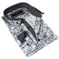 Coogi Luxe Men's Blue and Grey Floral Print Dress Shirt