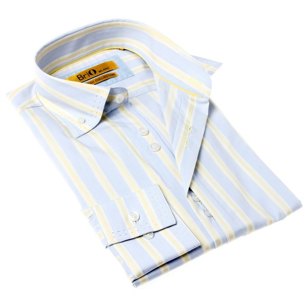 Brio Men's Blue and Yellow Stripe Dress Shirt