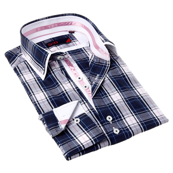 Brio Men's Blue and Pink Plaid Dress Shirt