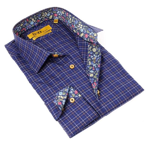 Brio 1818 Men's Blue Plaid/ Floral Dress Shirt