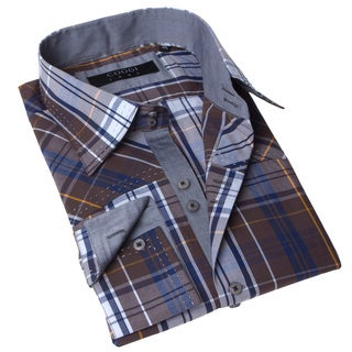 Coogi Luxe Men's Brown and Blue Plaid Dress Shirt