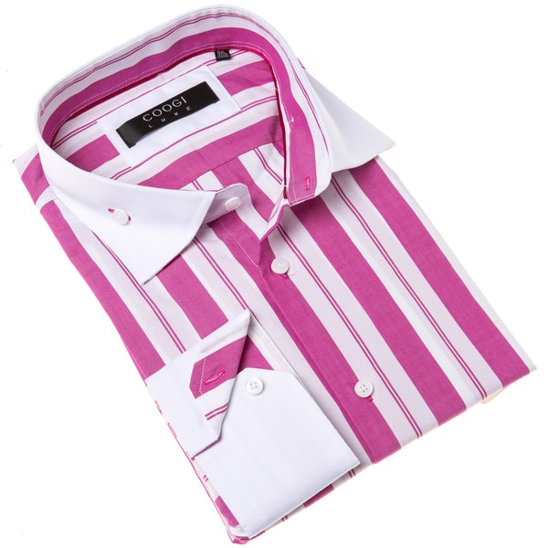 Coogi Luxe Men's Pink and White Stripe Dress Shirt