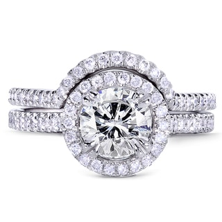 Annello 14k White Gold 1 1/2ct TDW Round Diamond Bridal Ring Set (G-H, I1-I2)