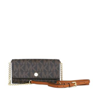 Michael Kors MK Signature PVC Brown and Luggage Saffiano Wallet On A Chain