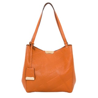 Burberry Small 'Canter' Burnt Orange Embossed Leather Tote